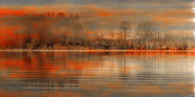 """serenity"" Painting Print On Wrapped Canvas, 60""x30""."
