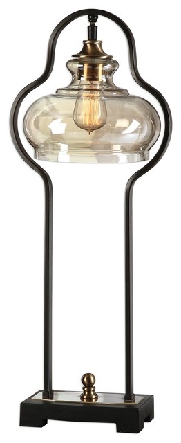 Uttermost Cotulla Aged Black Desk Lamp.