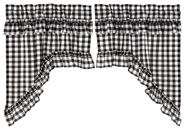 Farmhouse Kitchen Curtains Jenna Buffalo Check Swag Rod Pocket Cotton, Set  of 2