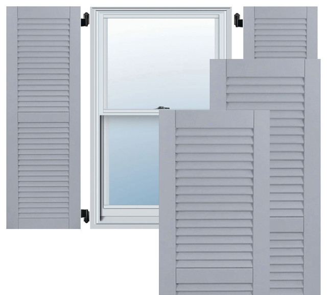 Ekena millwork 15 x 78 exterior composite wood louvered shutters black view in your room for Unfinished wood shutters exterior