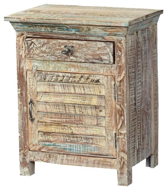 Winter White Shutter Door Reclaimed Wood Nightstand End Table Cabinet