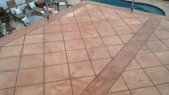 Faux Tile Finish Over Desert Crete Exterior Flooring System Mediterranean