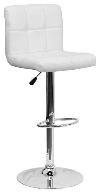Nembus Quilted Adjustable Stool With Chrome Base, White.