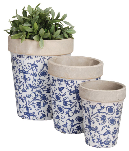Scroll Flower Pots Set Of 3 Blue And White