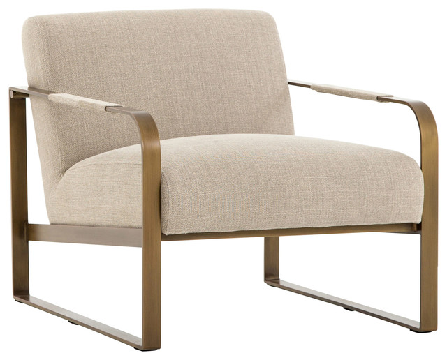 Prime Halle Modern Classic Beige Linen Upholstered Antique Brass Armchair Bralicious Painted Fabric Chair Ideas Braliciousco