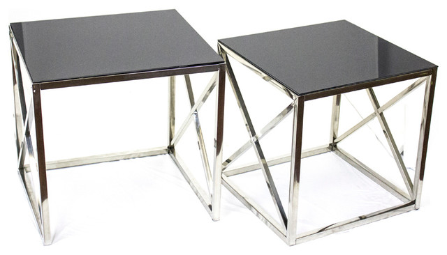 Stella Square Side Tables Set Of 2 Black Glass Coffee Table Sets By Sagebrook Home