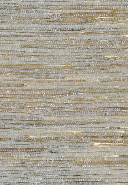 Metallic Silver And Off White Wide Java Grass Grasscloth