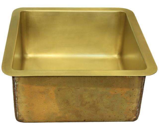 "Brass Bar Sink, Burnished Brass, 3.5"" Drain."