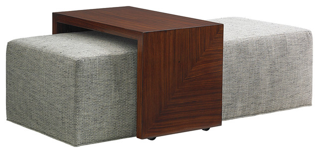 Astonishing Broadway Modern Upholstered Cocktail Ottoman With Slide Tray Gmtry Best Dining Table And Chair Ideas Images Gmtryco