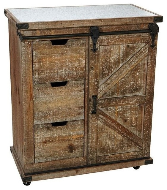Vintage Rolling Cabinet, Barn Pulley Doors With 3-Drawers 33.
