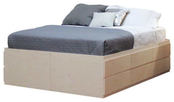 Full Size Storage Bed 12 Drawers Birch Wood