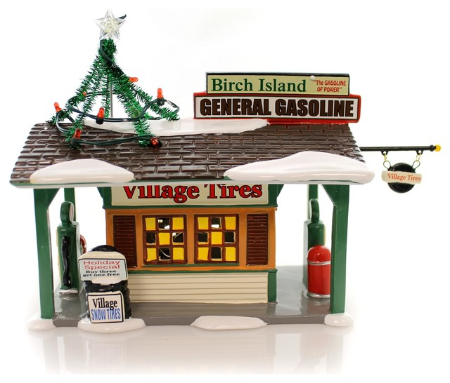 Department 56 House Birch Island Gas Station Ceramic Snow Village 4049210.