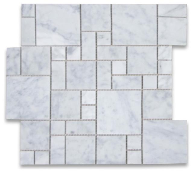 12x12 Carrara White Mini Versailles Pattern Mosaic Tile Polished