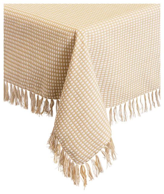 "Homespun Fringed 100% Cotton Tablecloth, Ecru, 52""x70"""