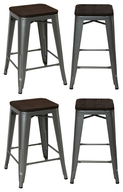 24 Quot Industrial Stacking Metal Silver Counter Bar Stool