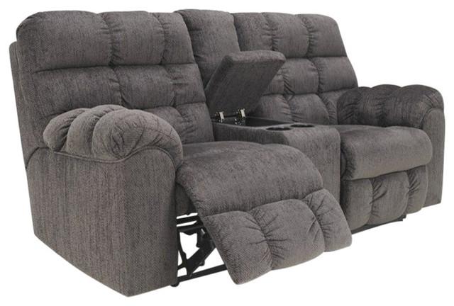 Ashley Furniture Acieona Microfiber Double Reclining Loveseat in Slate