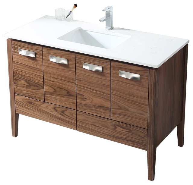 48 Colle Modern Walnut Color Bathroom Vanity Transitional Bathroom Vanities And Sink Consoles By Chans Furniture Houzz