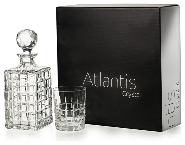 helsinky handmade crystal whisky decanter and 4shot gift set modern decanters - Whisky Decanter