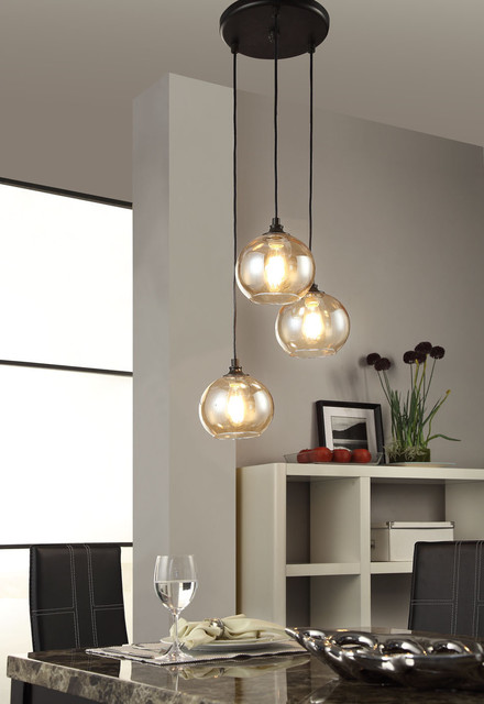 Uptown 3 Light Amber Globe Cluster Pendant Contemporary