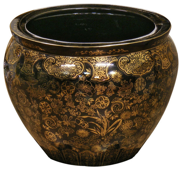 Hand Painted Decorative Fishbowl Planter 16 Asian Indoor Pots