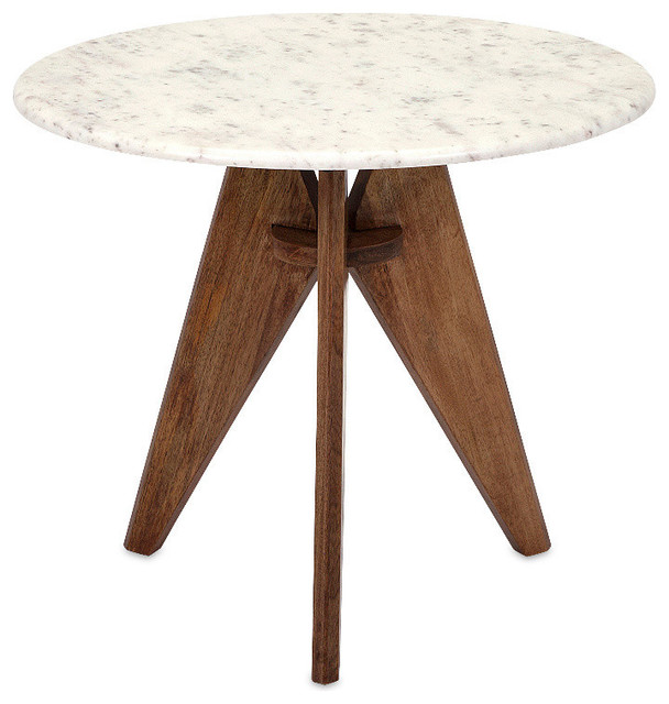 Imax Febe Mango Marble And Wood End Table Scandinavian Side Tables And