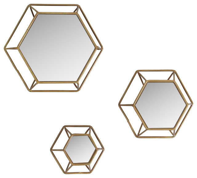 Shanton Hexagonal Wall Mirrors (set Of 3).