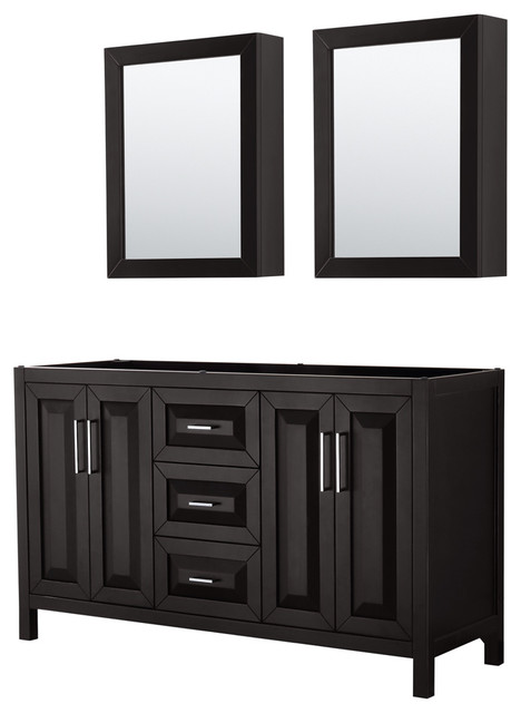 Daria 60 Double Vanity, Dark Espresso, No Countertop, No Sink.