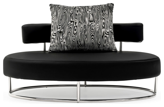 Oyster Contemporary Comfortable Lounge Chair, Black Contemporary Loveseats