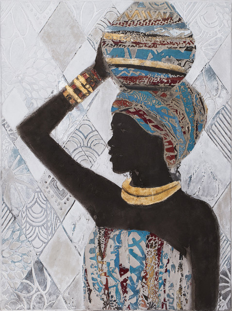 """African Lady With Jug Canvas Art, 48""""x36""""."""