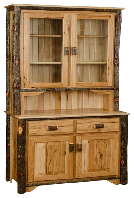 Rustic Hickory 2 Door Hutch With 2 Door Buffet Rustic
