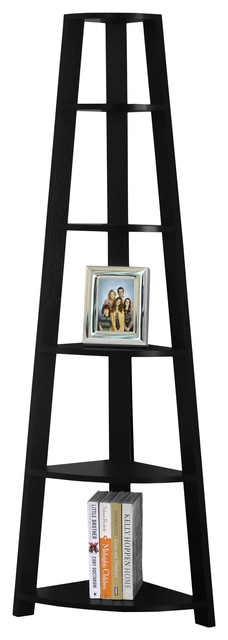 "Bookcase, 72""h, Black Corner Accent Etagere."