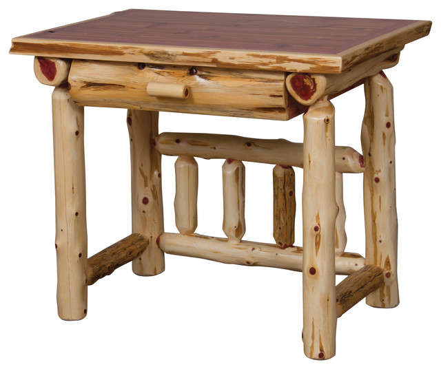 Rustic red cedar log student writing desk desks