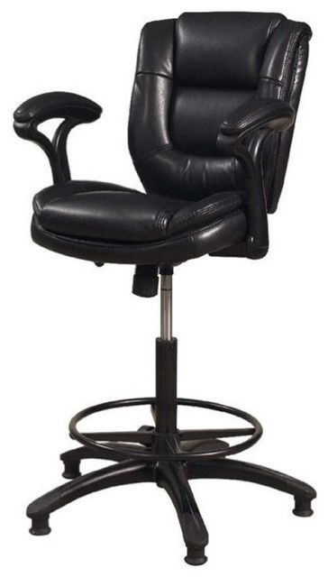 Bowery Hill Faux Leather Adjustable Swivel Drafting Stool, Black.