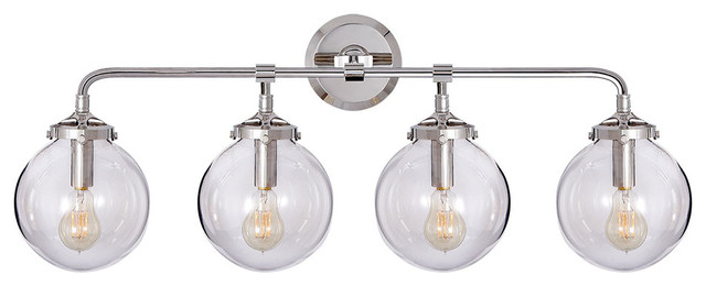 Bistro Globe Bath Sconce 4 Light: Lan K. Fowler Bistro 4-Light Bath Sconce, Polished Nickel
