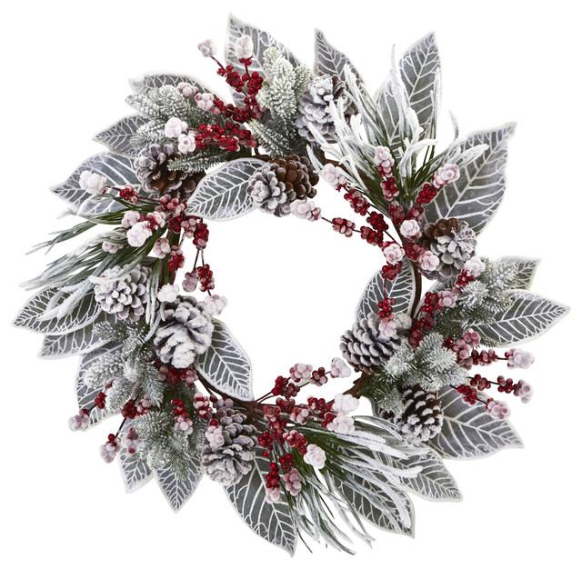 """24"""" Snowy Magnolia Berry Artificial Wreath."""