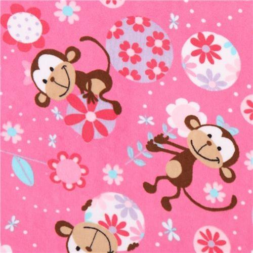 hot pink monkey minky fabric fleece plush Funky Monkey