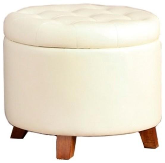 Poundex Round Faux Leather Storage Ottoman, White