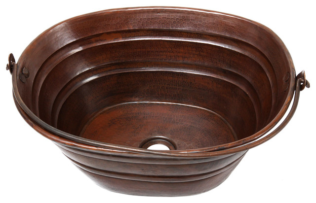 "shop houzz  hammermarc "" copper oval bucket style vessel sink, Home decor"