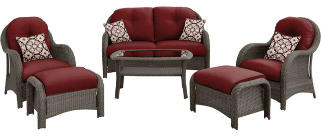 Newport 6-Piece Woven Seating Set, Crimson Red