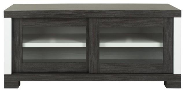 davis sliding door tv cabinet dark grey charcoal woodgrain white