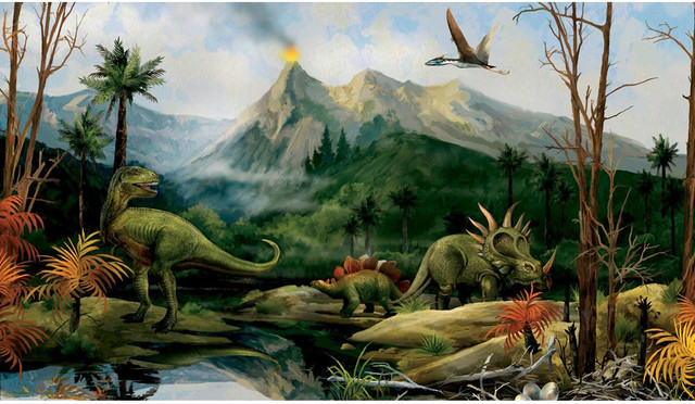Dinosaur Jurassic Volcano Landscape Large Accent Wall Mural