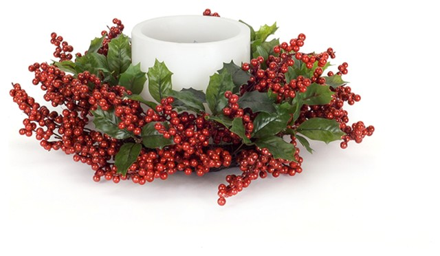 """Holly Leaf And Berry Candle Ring, Set Of 2, 16""""."""