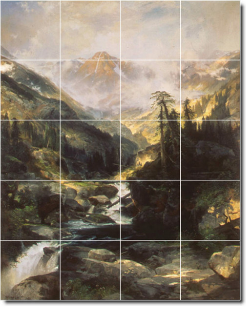 Thomas moran landscapes painting ceramic tile mural 565 for Ceramic mural painting