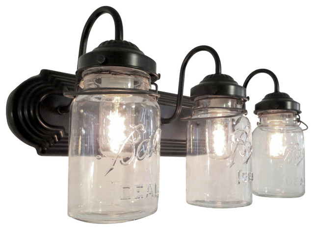 Bathroom Vanity Lights On Sale bathroom mason jar triple vanity wall sconce light - traditional