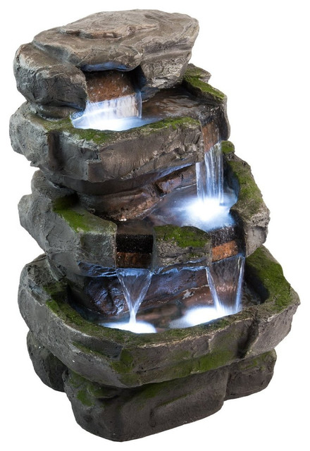 "22"" Wilson Rock Fountain w LED Lights Traditional"