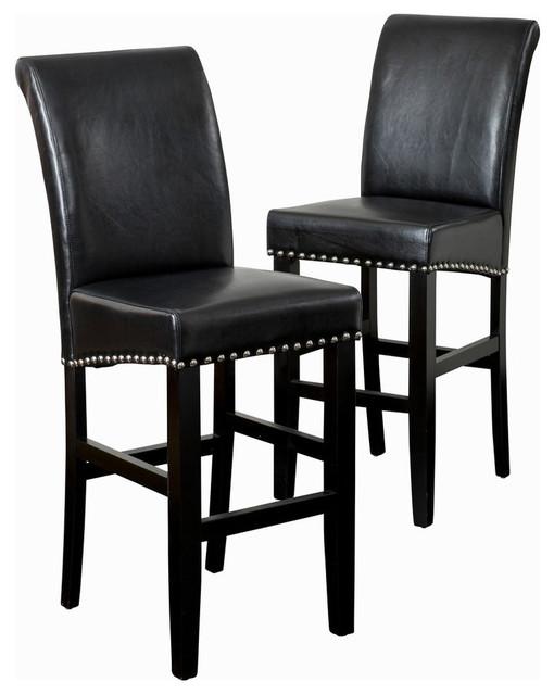 GDF Studio Clifton Leather Bar Stools, Black, Set of 2