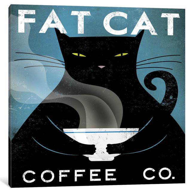 """cat Coffee No City Gallery"" By Ryan Fowler, 18x18x0.75""."