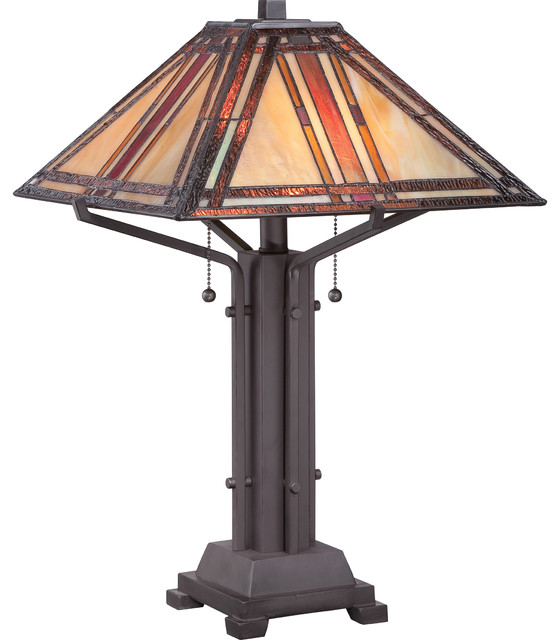 2 Light Standard Bulb Table Lamp In Western Bronze Craftsman Table Lamps