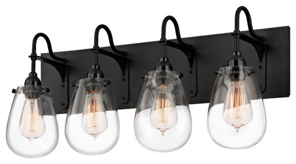 Bathroom Lighting Fixtures Nyc chelsea 4-light bathroom vanity light, satin black - industrial