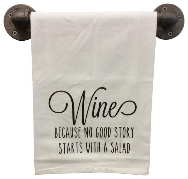 Charming Flour Sack Tea Towel, Wine Salad, Gray Ink Contemporary Dish Towels